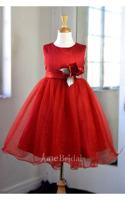 Satin Bodice Ruffled Tulle Layer Dress With Flower