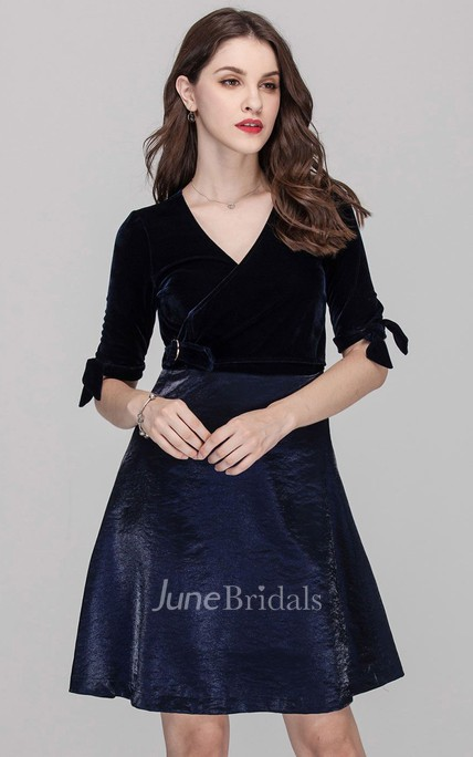Navy Tied Sleeve Surplice Neck Short Dress