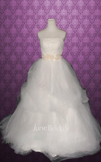 Strapless Backless Long Tulle Wedding Dress With Sash And Flower