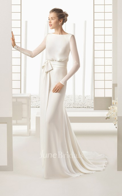 Flowing Long-sleeved Chiffon Dress With Decoratived Buttons and Bow