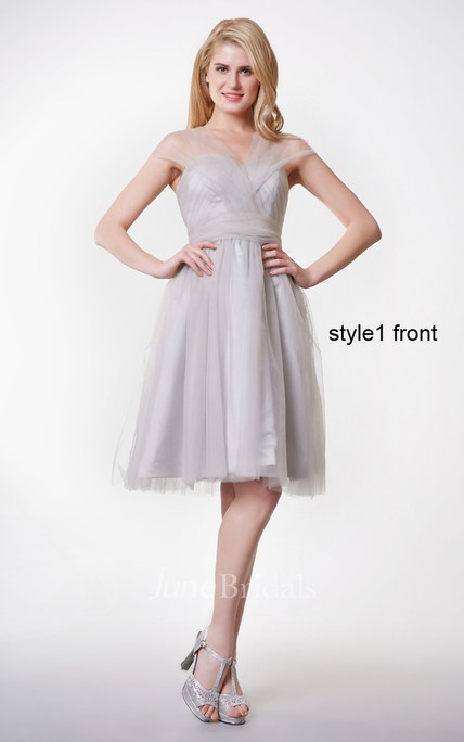 Short Sleeve Pleated Short A-line Tulle Dress With Changeable Ruched Belt