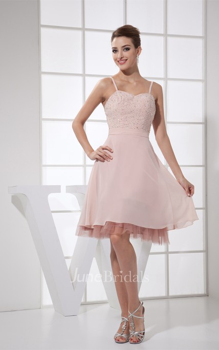 Spaghetti-Straps Knee-Length A-Line Chiffon Dress with Beadings and Zipper Back