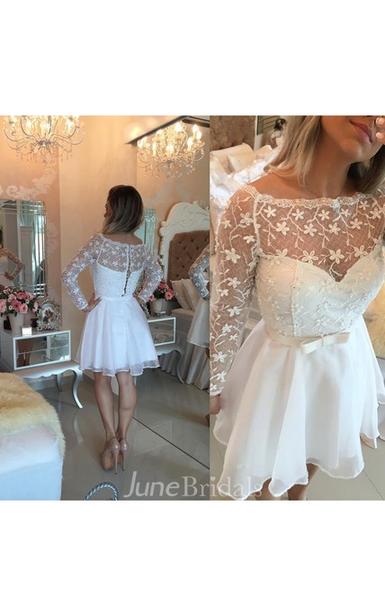 Beautiful White Lace Homecoming Dress 2018 Short Long Sleeve Cocktail Dress