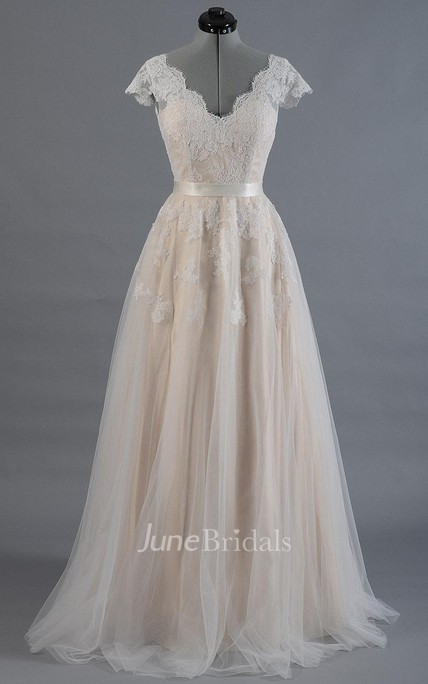3cc458fb44e Cap Sleeve V-Neck Lace Wedding Dress With Tulle Skirt and V-Back - June  Bridals