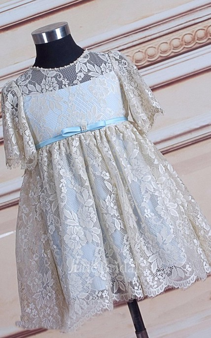 Illusion Short Lace Dress With Flower&Sash Ribbon