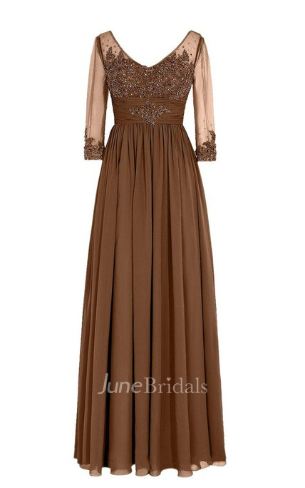 3 4 Sleeved V-neck Chiffon Gown With Illusion Sleeves