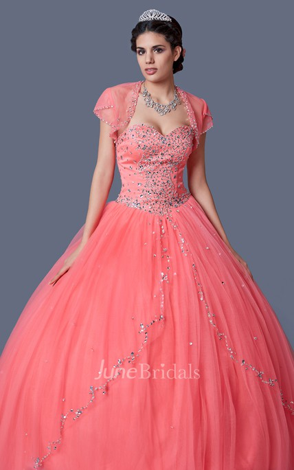 Elegant Princess Style Gown With Drift Away Beadwork on Skirt and Strapless Top