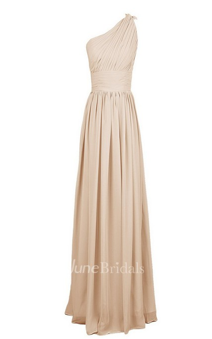One-shoulder Long Chiffon Gown With Pleats