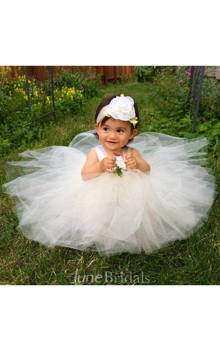 Satin Strap Pleated A-line Tulle Flower Girl Tutu Dresses With Satin Ribbon