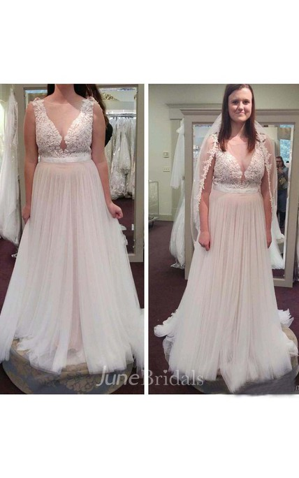 Vintage Country Sheer V Neck A Line Tulle Lace Plus Size Wedding ...