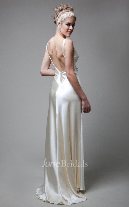 V-Neck Empire Sleeveless Deep-V Back Sheath Long Satin Wedding Dress