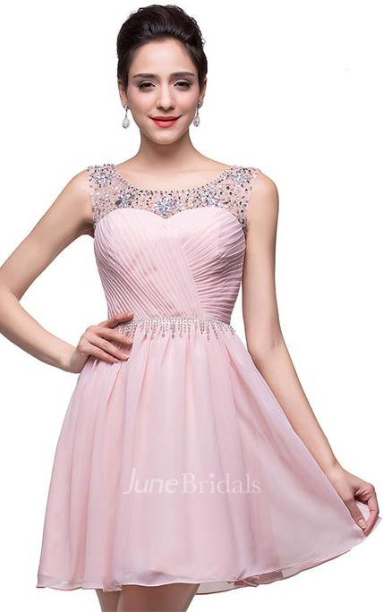 Elegant Sleeveless Crystal Short Homecoming Dress 2018 Chiffon
