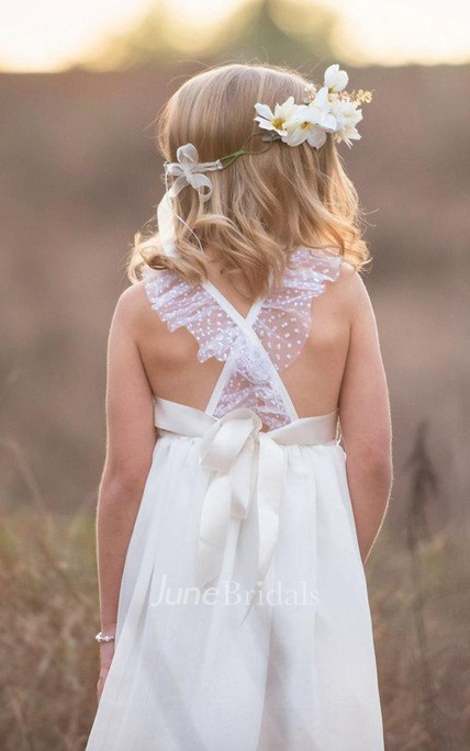 Criss-crossed Strap V-neck Lace Flower Girl Dress With Bow Back Dress