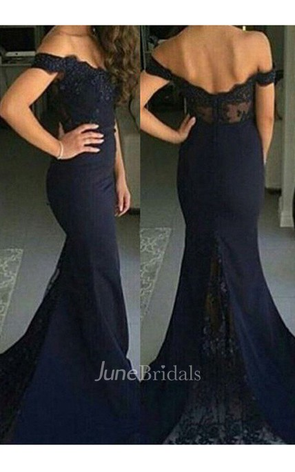 Trumpet Mermaid Off-the-shoulder Sleeveless Lace Sweep Brush Train Satin Dress