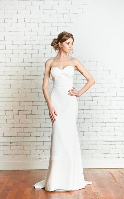 Sweetheart Fit and Flare Simple Style Wedding Dress