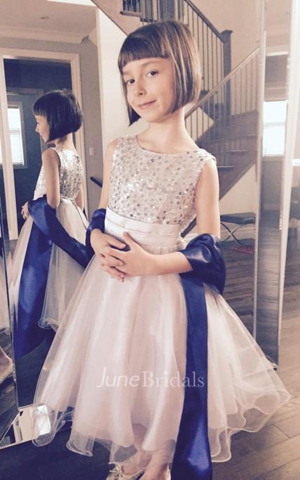 e88b6df91 First Communion Sleeveless Ruffled Sequin Flower Girl Organza Dress - June  Bridals