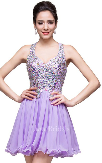 e7b3cd09d2 Gorgeous Halter Sleeveless Homecoming Dress 2018 Short Tulle With Crystals  - June Bridals