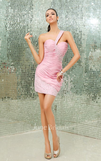 Ethereal Bodycon Ruching Dress With Beaded Strap And Skirt