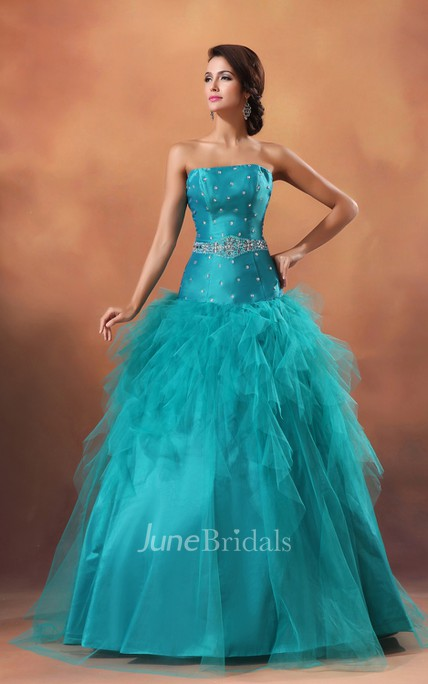 Strapless A-Line Princess Ball Gown With Crystal Detailing And Ruffles