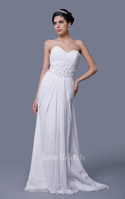A-Line Chiffon Sweetheart Dress With Ruching and Rhinestones