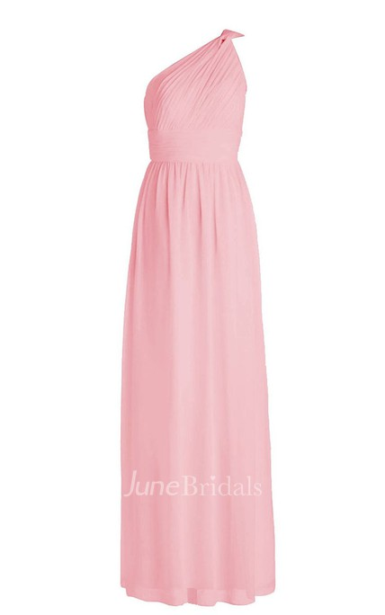 One-shoulder Pleated Chiffon Sheath Gown With Ruched Band