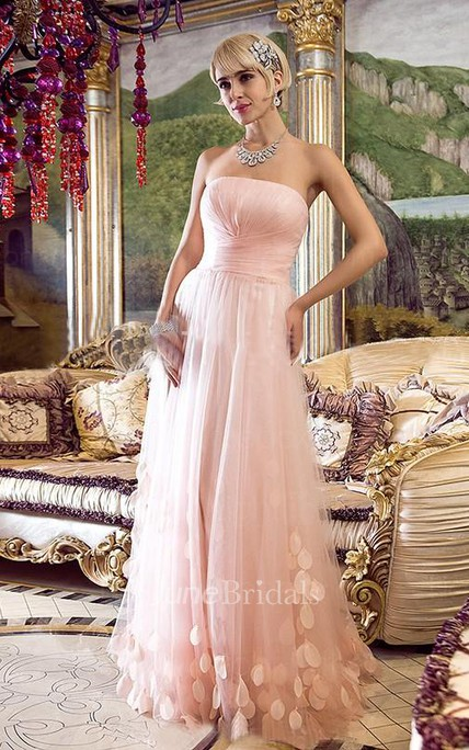 A-Line Princess Strapless Sleeveless Floor-Length Tulle Applique Dresses