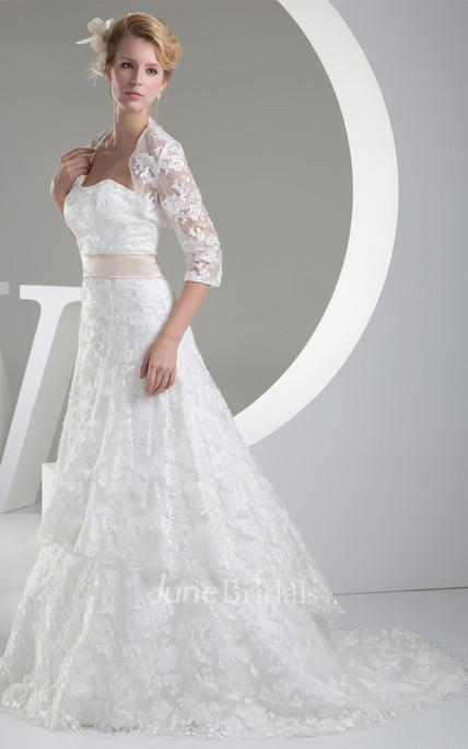 Strapless Lace A-Line Dress with Bolero and Brush Train
