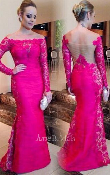 3c3433fc2d3 Newest Fuchsia Long Sleeve Mermaid Evening Dress 2018 Lace Off-the-shoulder  - June Bridals