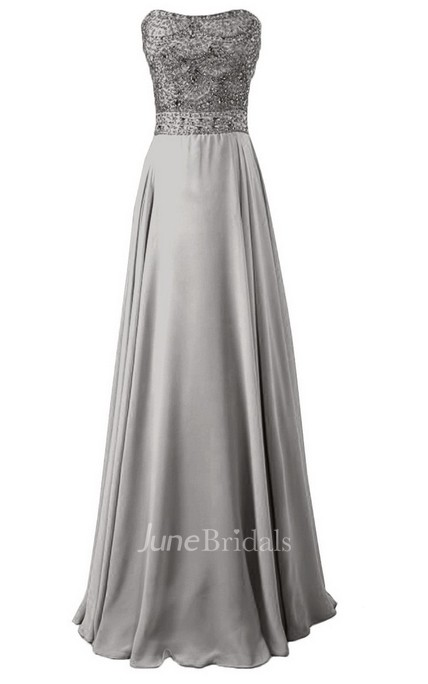 Strapless Long Satin Dress With Beaded Bodice