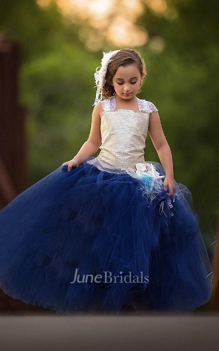 Strapped Tulle Dress With Sequins&Flower Sash Ribbon