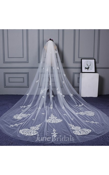 Latest Beautiful Cathedral Wedding Veil with Appliques