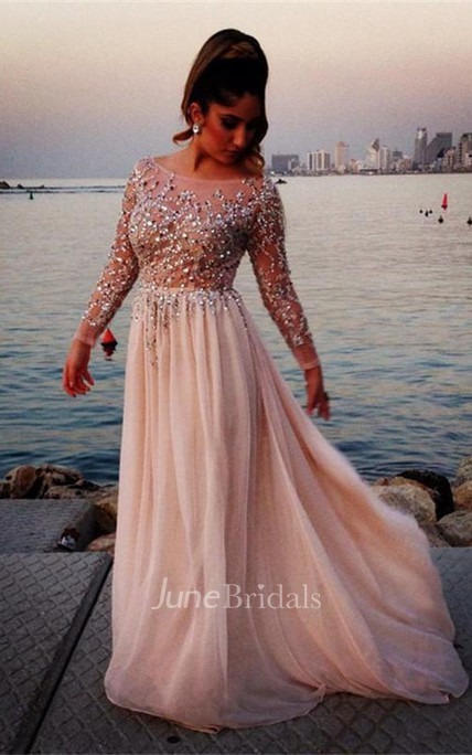Glamorous Long Sleeve Beadings Prom Dresses 2018 Long Chiffon