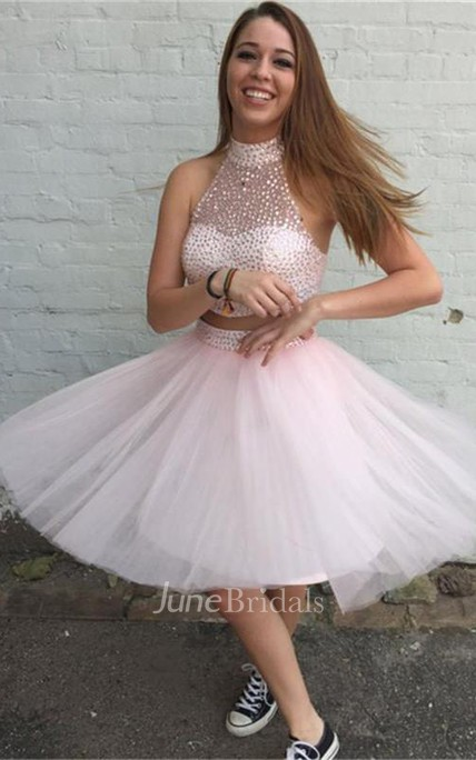 Lovely Halter Beadings Short Tulle Cocktail Dress 2018 Two Piece