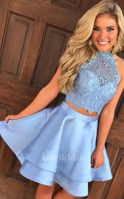 A-line Two Piece Halter Sleeveless Lace Ruching Tiers Short Mini Satin Lace Homecoming Dress