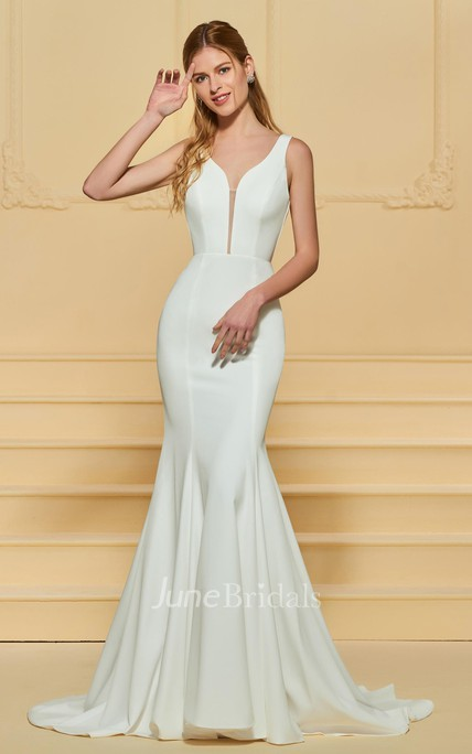 Elegant Chiffon Plunging Deep-V Back Long Dress