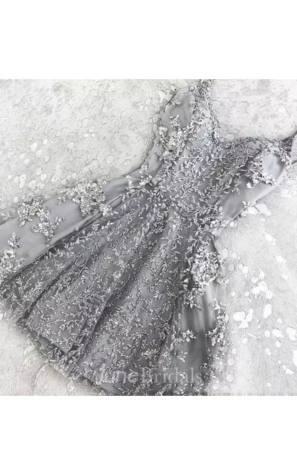 a9a87e7268 A-line Spaghetti Sleeveless Appliques Pleats Short Mini Lace Homecoming  Dress - June Bridals
