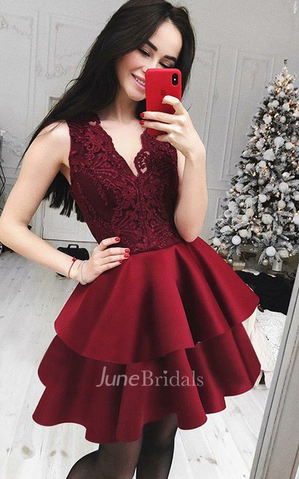 A-line V-neck Sleeveless Ruffles Tiers Short Mini Satin Lace Homecoming Dress