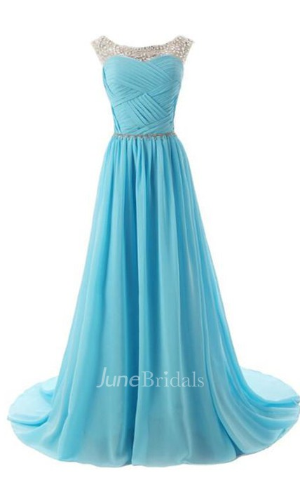 Elegant Scoop Long Ruching Chiffon Evening Dress With Crystals