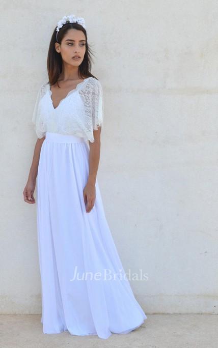 0b9501c785b Bohemian V Neck Cleavage Lace Sleeves Wedding Dress - June Bridals