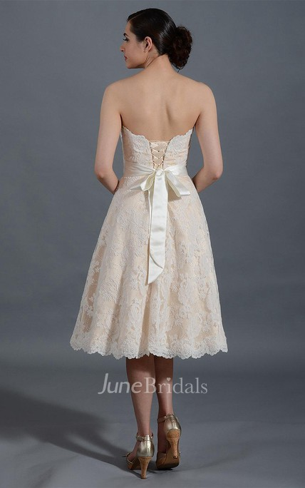 Alencon Lace Knee-Length Lace Wedding Dress With Satin Belt