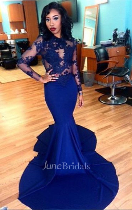 Delicate Royal Blue Lace Appliques Evening Dress 2018 Mermaid Long Sleeve