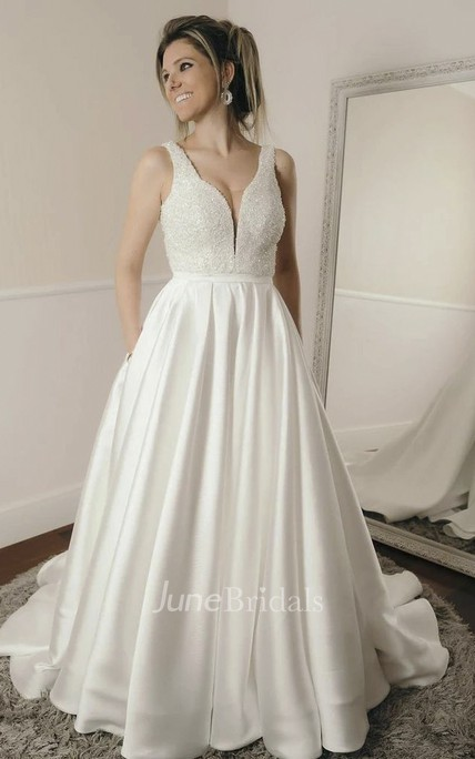 Sleeveless Simple Ballgown Elegant Plunging Beaded Satin Wedding Dress