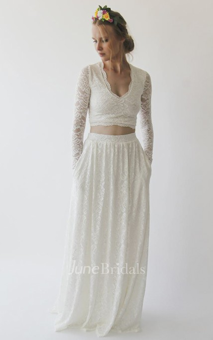 Two-piece V-neck Pockets Lace Wedding Dress With Illusion Long Sleeves