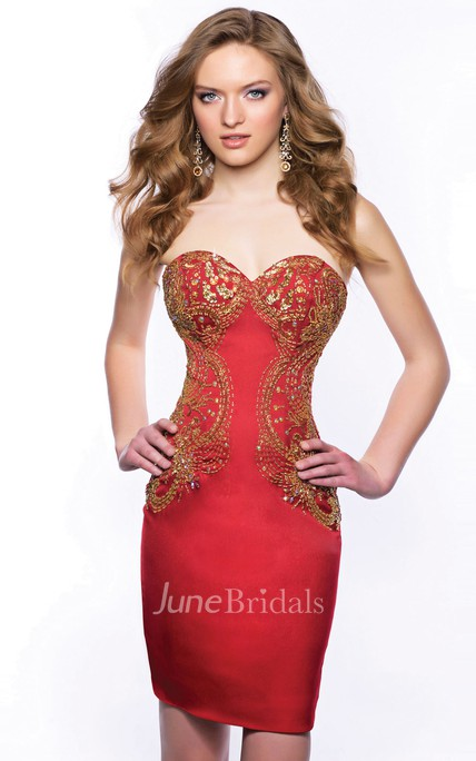 bb0b18e6bde Sweetheart Form-Fitted Satin Short Homecoming Dress With Sequins - June  Bridals