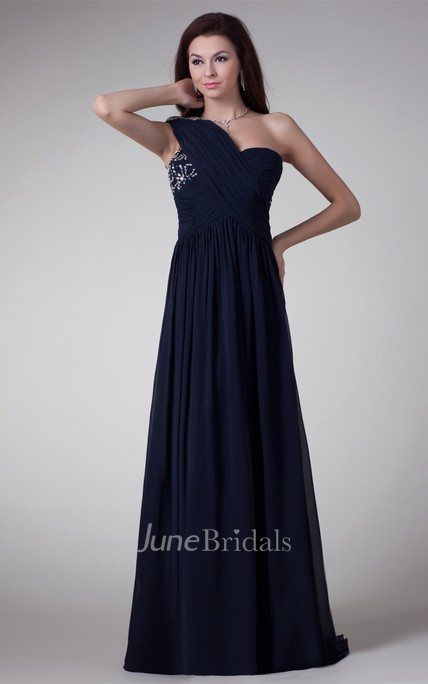 Chiffon One-Shoulder A-Line Maxi Dress with Crystal Detailing