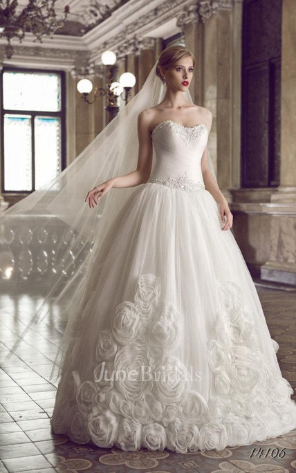 6528b6a0fa A-Line Strapped Tulle Lace Dress With Split Front Split Corset Back - June  Bridals