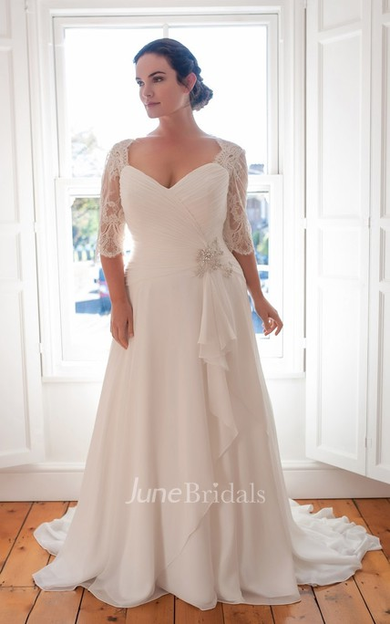 A-Line Long V-Neck Half Sleeve Chiffon Brush Train Draping Dress