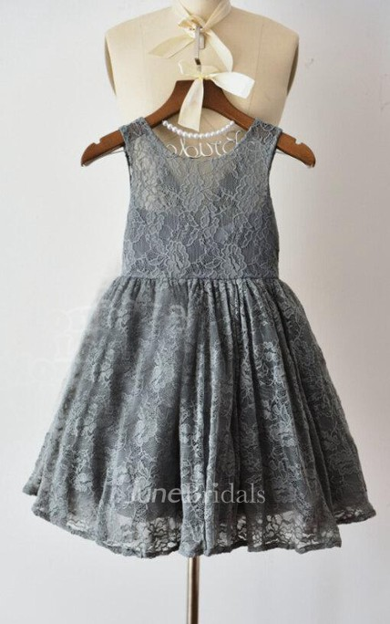 Gray Lace Flower Girl Lace Dress