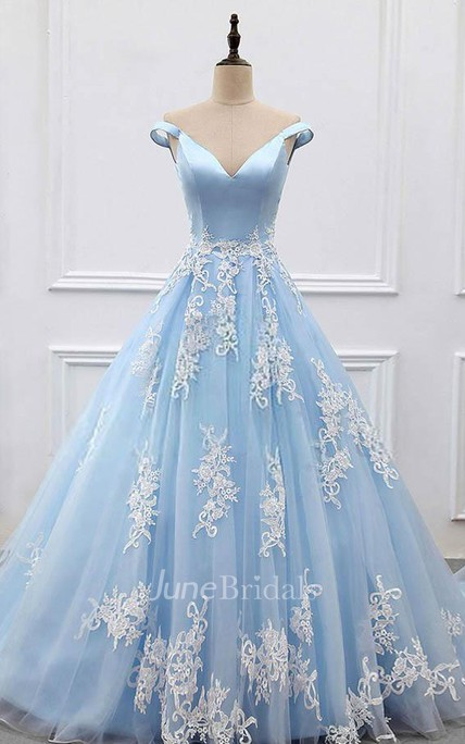 Off-the-shoulder Court Train Satin Tulle Prom Dress