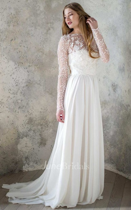 Long Sleeve Chiffon Satin Lace Lace Up Corset Back Wedding Dress